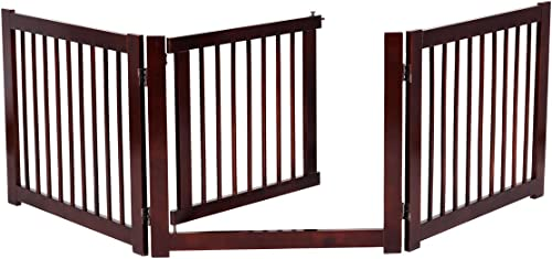 """lowest Giantex Freestanding Pet Gate with Door, 24inch 3 Panels Wood Dog Gate with Walk Through Door, Expands Up to 81.5"""" Wide, Foldable popular Pet Safety outlet online sale Puppy Fence for House Doorway Stairs sale"""