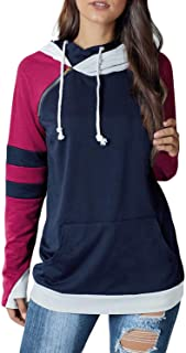 Women Casual Double Hoodies Stripe Long Sleeve Cowl Neck Drawstring Pullover Sweatshirts Tops