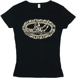 (ムームーママ) MuuMuuMama 半袖 フライス Tシャツ ホワイトジンジャー柄 黒ボディ ベージュプリント