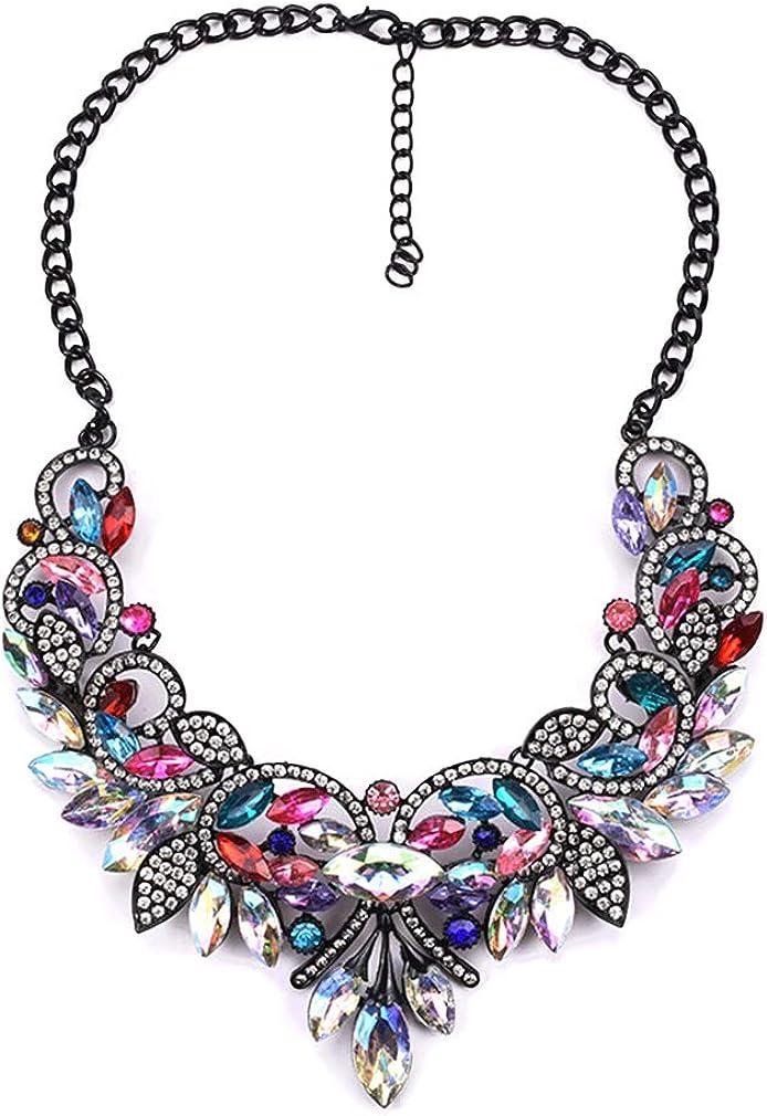 YAZILIND Retro Gemstone Flower Necklace Sparkling Rhinestone CZ Collar Chunky Necklaces Women Mum Jewelry Gift