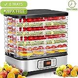 *Hopekings Deshidratador d'Aliments 8 Pisos Safates, Deshidratador de Fruites i Verdures 400W amb Temporitzador 72H i Temperatura ajustable,Pantalla *LCD,sense *BPA