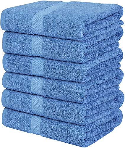Utopia Towels Cotton Towels, Electric Blue, 22 x 44 Inches Towels for Pool, Spa, and Gym Lightweight and Highly Absorbent Quick Drying Towels,(Pack of 6)