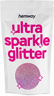 Hemway Pink Holographic Premium Glitter Multi Purpose Dust Powder 100g / 3.5oz for use with Arts & Crafts Wine Glass Decoration Weddings Cards Flowers Cosmetic Face Eye Body Nails Skin Hair