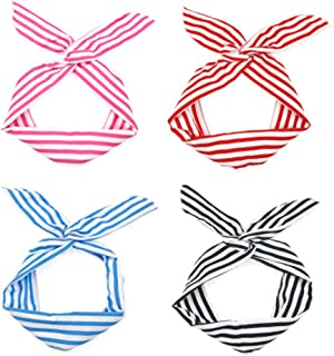 4pcs Womens Girls Stretchy Stripe Athletic Bandana Headbands Head Wrap Yoga Headband Head Scarf Rabbit Ear Twist Bow Wired Headband for Washing Face Sports or Exercise FD21 (Deep Brown)