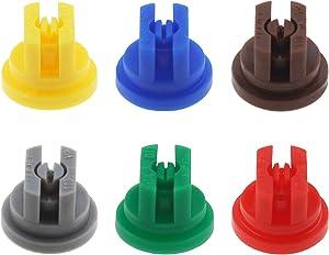 Create idea 6Pcs Spray Nozzle Tip Assorted Set, 110 Degree Flat Fan Shape 0.15-0.6mm Pore for Weed Killing