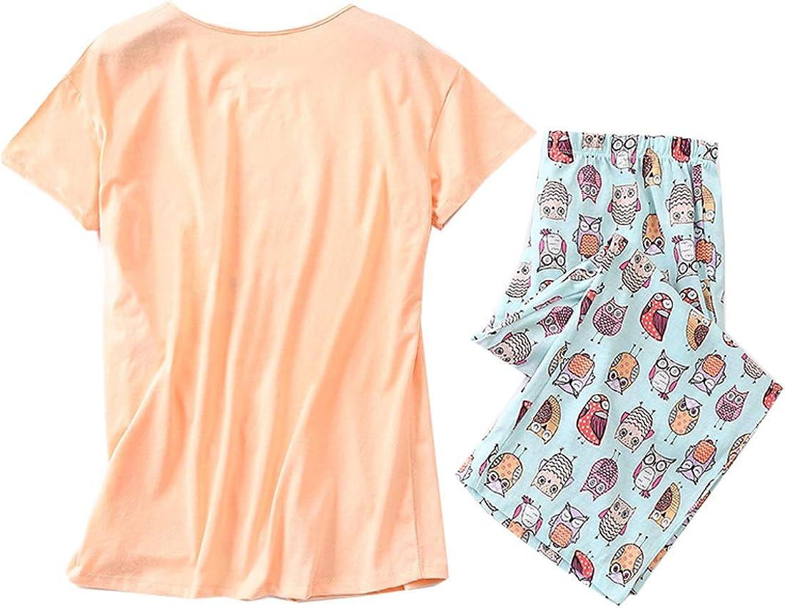 ENJOYNIGHT Womens Cute Sleepwear Tops with Capri Pants Pajama Sets