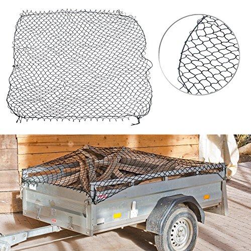 Lescars Anhängernetz: Anhänger-Gepäcknetz mit umlaufendem Gummiseil, 125 x 210 cm (Ladungssicherung)