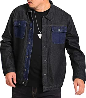 6d796f6c12cf7 SUNFURA Men s Stylish Plus Size Loose Fit Long Sleeve Color-Block Denim  Jacket