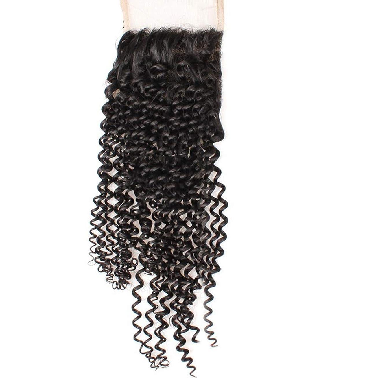 授業料該当する羊飼いYESONEEP 4×4フリーパートレース前頭閉鎖9Aブラジル髪変態カーリーレース閉鎖ロールプレイングかつら女性の自然なかつら (色 : 黒, サイズ : 12 inch)