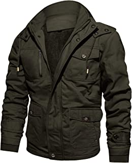 CRYSULLY Men's Winter Casual Thicken Multi-Pocket Outwear Jacket Coat with Removable Hood