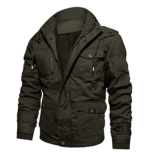 3e8f318c3c CRYSULLY Men s Winter Casual Thicken Multi-Pocket Outwear Jacket Coat with  Removable Hood