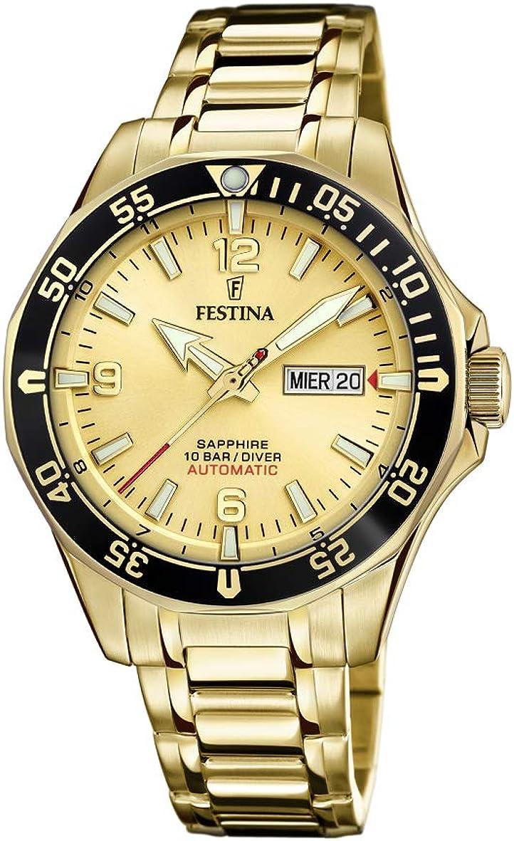 FESTINA Reloj Modelo F20479/1 de la colección AUTOMATICO, Caja de 42,3 mm champan con Correa de Acero Chapado para Caballero