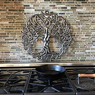 Tree of Life Metal Wall Art, Contemporary Iron Artwork Decor, Celtic Family Trees, 23 In. x 23 In. Round Modern Plaque, Handm