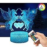 3D Einhörner Lampe LED Nachtlicht mit Fernbedienung, QiLiTd 16 Farben Wählbar Dimmbare Touch Schalter Nachtlampe Geburtstag Geschenk, Frohe Weihnachten Geschenke Für Mädchen Männer Frauen Kinder