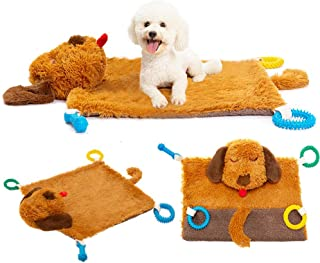 PUPTECK Dog Play Mat - Squeaker in Both Ears and Tail -Puppy Chew Toys, Teething Ropes on Plush Warm Soft Mat