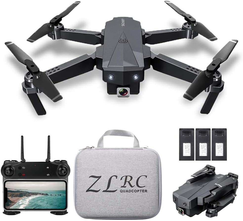 SG107 Mini Drone Plegable con Cámara 4K HD Interior RC Quadcopter con Modo sin Cabeza Rotación de 360° Trayectoria Vuelo para Adultos Niños Principiantes Gran Regalo Juguete con Bolsa 3 Batería