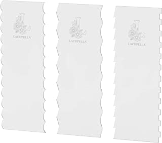 Lacupella 12 inch Cake Acrylic Buttercream Decorating Contour Comb Set of 3 for 6 Plus Patterns - Ribbon Wave Pleated Stri...