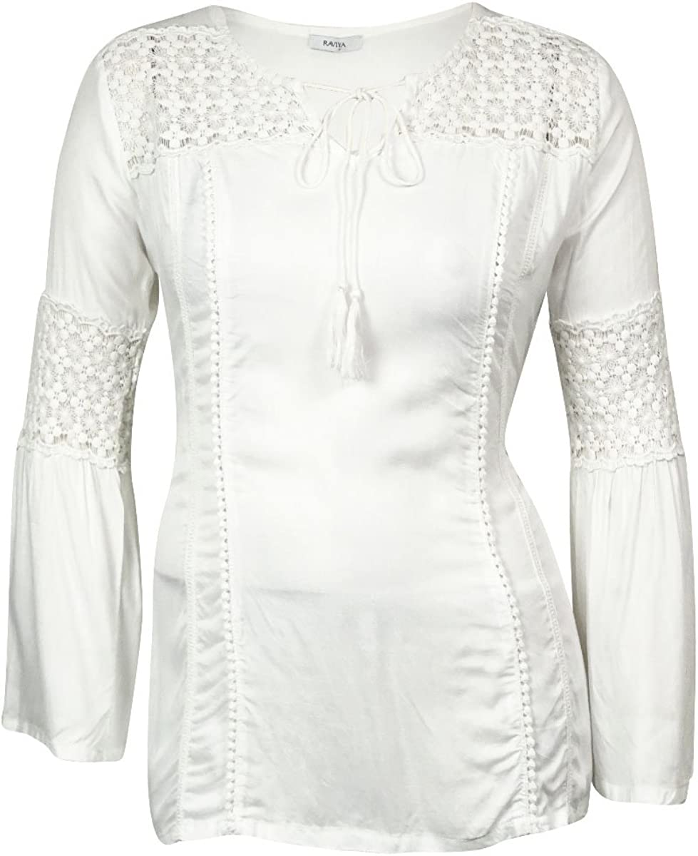 Raviya Women's Crochet Inset Tunic Swimsuit Cover
