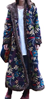 Women's Warm Long Overcoat Hooded Winter Quilted Parka Outwear with Faux Fur Collar Jackets