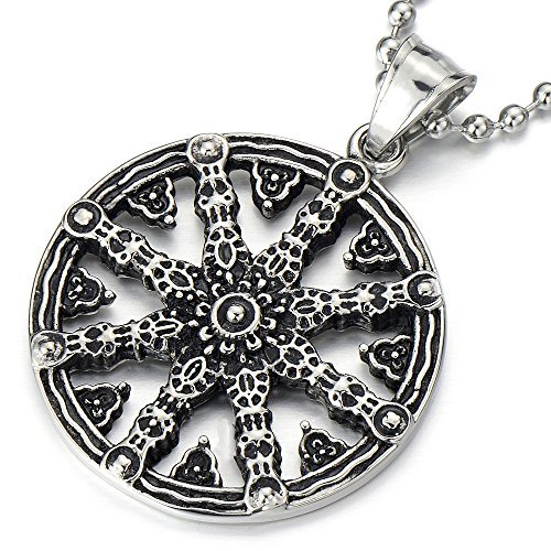 COOLSTEELANDBEYOND Mens Dharmachakra Pendant Dharma Wheel of Law Buddhist Symbol Necklace Stainless Steel with 23.4 in Chain