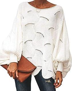 OrientalPort Maglione da donna con scollo a battente, maglione lavorato a maglia, maglione oversize Dolman