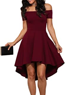 LOSRLY Womens Off The Shoulder Skater High Low Homecoming Party Cocktail Dress