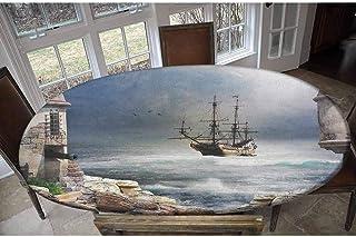 Housse de table élastique en polyester - Motif bateau pirate ancré dans la baie de Fort - Motif rochers abandonnés à la ri...