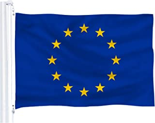 DFLIVE EU Flag 3x5 ft Printed Polyester European Union Flag Banner with Brass Grommets