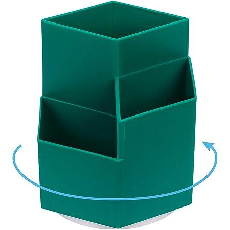 Toplive Organisateurs de stylo, [Rotable à 360 degrés] Porte-crayon Organisateurs de rangement de bureau avec 3 compartiments, Porte-stylo pour fournitures de bureau, papeterie, stylos / crayons Vert