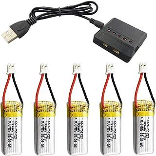 JVSISM Batería de 5 Piezas 3.7V 180 MAh con Cargador 5 en 1 para RC Drone A20 A20W Repuestos Lipo Batería RC Parts Drone Accesorios