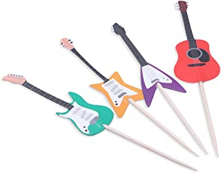 BESTOYARD Guitar Cupcake Toppers Musical Instrument Cupcake Toppers Picks for Party Favors Birthday Wedding Baby Shower Cupcake Toothpick 24pcs