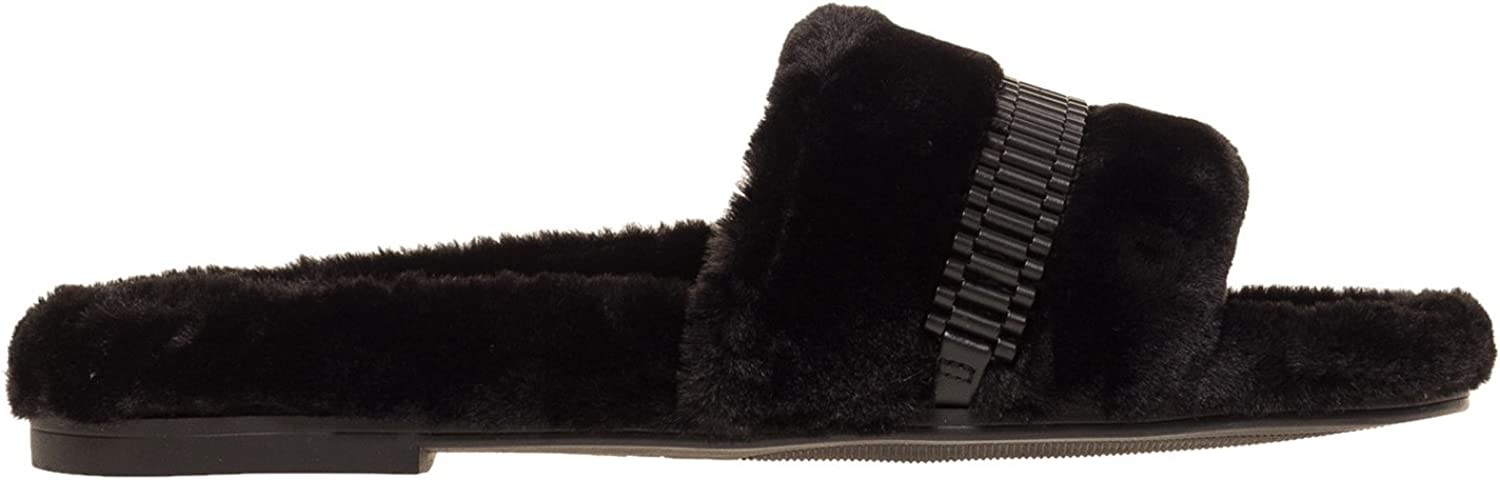 KENDALL + KYLIE Women's Shade2 Royal Fur Slides Black in Size US 9
