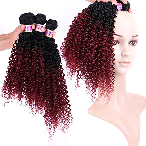 Burgundy curly weave _image0