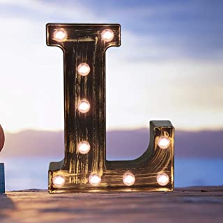 Industrial LED Marquee Letter Lights 26 Alphabet Light Up Name Sign Vintage Style Letter Lamp for Birthday Party Christmas Perfect for Events or Home Bar Decor(Letter L)