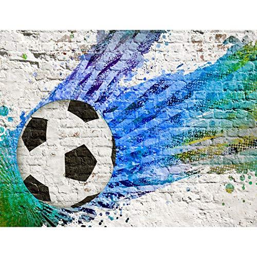 Runa Art Fototapete Fussball Steinwand Modern Vlies Wohnzimmer Schlafzimmer Flur - made in Germany - Blau Grün 9021010a