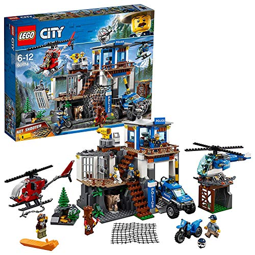 LEGO 60174 City Mountain Police Mountain Police Headquarters Station with Net Shooter, Garage, 2 Helicopters, 4x4 Car and Motorbike Toys plus Animal Figure, Adventure Sets for Kids