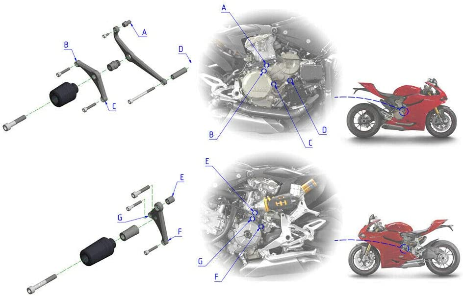 COPART Motorcycle CNC Engine Frame Sliders Falling Protection for Ducati 1299 Panigale S 959 Panigale