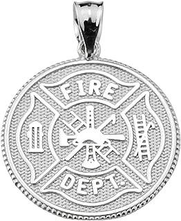 Firefighter Maltese Cross Sterling Silver with Prayer Blessing Pendant