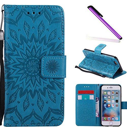 COTDINFOR iPhone 6S Funda Flores Cierre Magnético Billetera con Tapa para Tarjetas de Cárcasa Elegante Retro Suave PU Cuero Caso Protectora Case para iPhone 6S / 6 Sunflower Blue KT