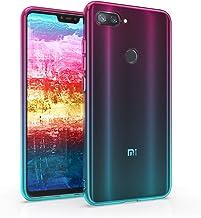 kwmobile Case Compatible with Xiaomi Mi 8 Lite - Case Transparent Gradient Phone Cover - Bicolor Dark Pink/Blue/Transparent