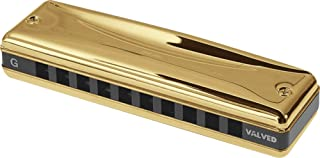 Suzuki MR-350VG-G Promaster Valved Gold Deluxe 10-Hole Diatonic Harmonica, Key of G