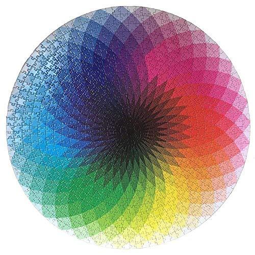 BIOBEY Rompecabezas para Adultos de 1000 Piezas / Juego, Rompecabezas con Sombras de Colores del Arco Iris, cartón Redondo, Paleta de Rompecabezas, Juego Intelectual