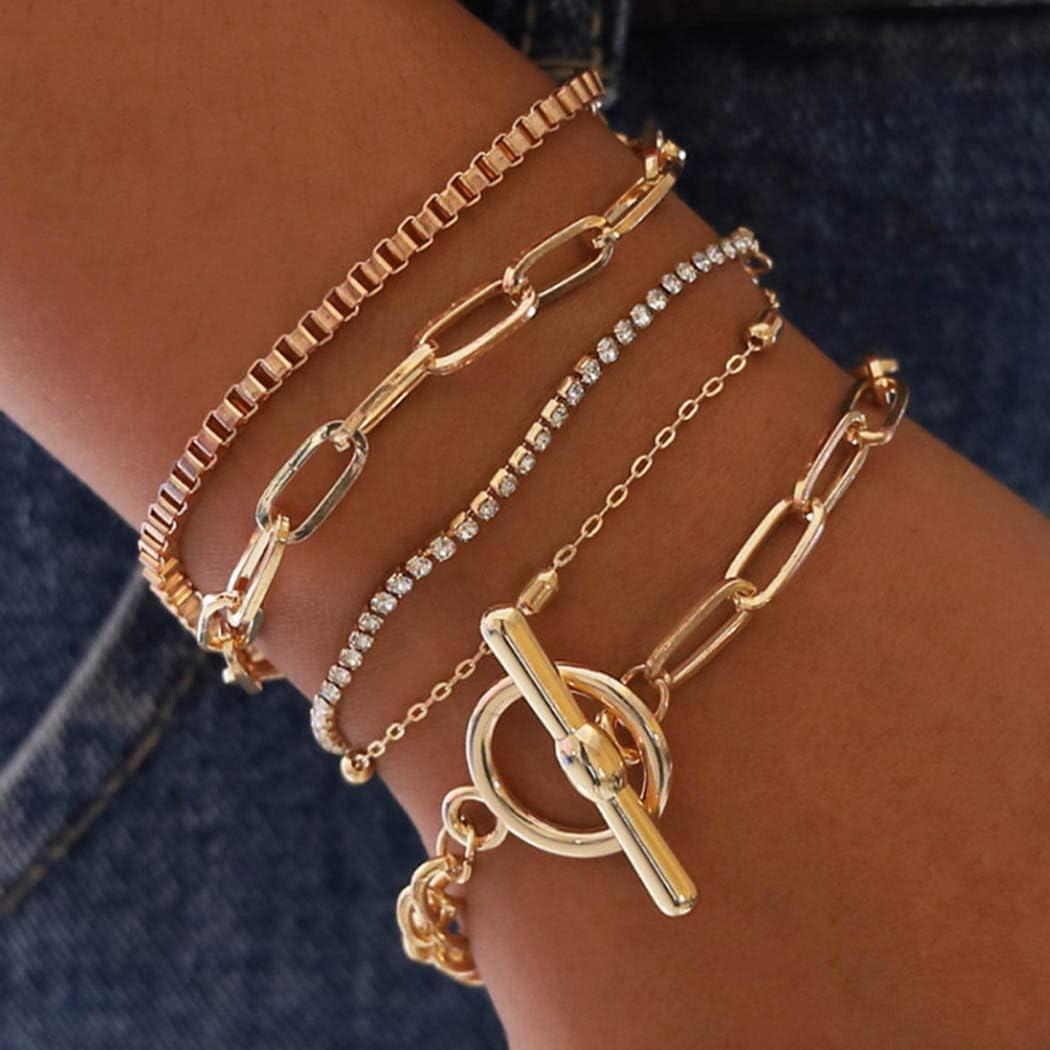 Sakytal Gold Link Bracelets Stackable Bracelet Set Layered Bracelets Crystal Bracelet Chain Adjustable for Women and Girls(5Pcs)