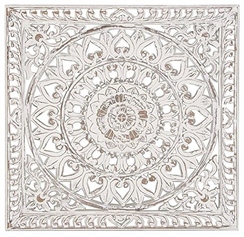 Kraft Mistry handcarfted el Panel de Madera Tallado en la Pared para el hogar y el Regalo 90 x 90 cms Blanco Apenado Delhi