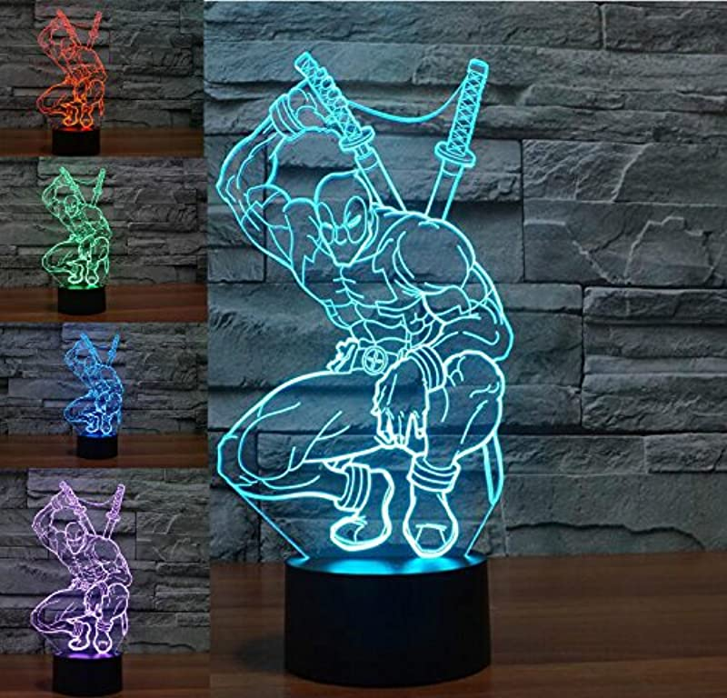 Marvel Warrior Figure 3D Night Light 7 Color Change LED Table Lamp Xmas Toy Gift