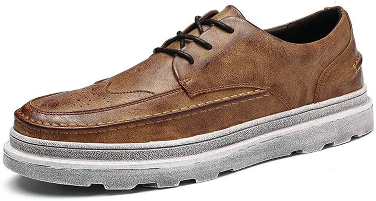 XHD- Classic shoes Men's Classico Business Oxford Casual Fashion New Solid color Vintage Outsole Increased Waterproof Brogue shoes