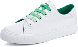 Women's Canvas Shoes Fashion Flat Sports Shoes Outdoor Student Casual Lace up Shoes (Color : Green, Size : 40)