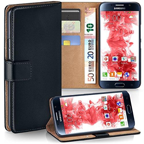 MoEx Premium Book-Case Handytasche kompatibel mit Samsung Galaxy S6 | Handyhülle mit Kartenfach und Ständer - 360 Grad Schutz Handy Tasche, Schwarz