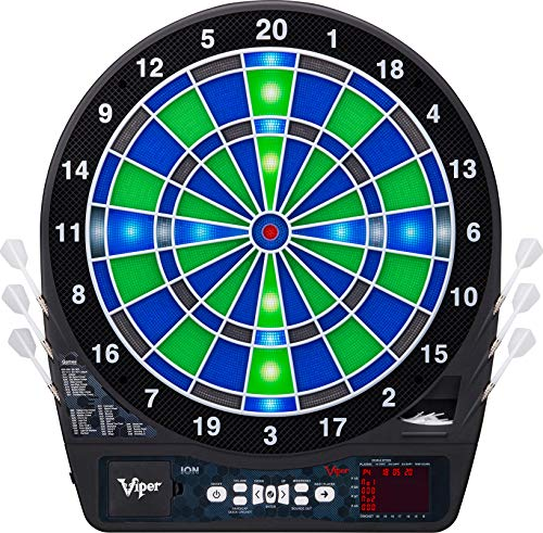 Viper Ion Electronic Dartboard, Illuminated Segments, Light Based Games, Green And Blue Segment...