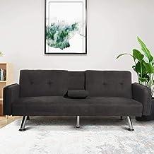 HCWORLD Sofá cama convertible moderno para salón, patas de metal y 2 portavasos plegable reclinable (gris oscuro)